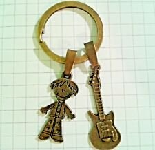 ANTIQUE GOLD PLATED HIPPY MAN+GUITAR CHARM ON KEYRING FOR HANDBAG OR KEY RINGS
