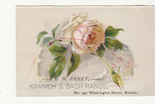 H W Berry Kranich & Bach Pianos Boston MA Pink Rose Vict Card c1880s