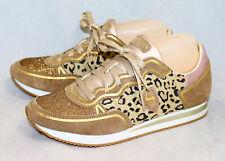 SKECHERS 632 Leopard Love Glam Sneaker Wo's 8 Eu 38 Gold Glitter Animal Print