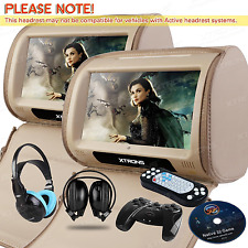 """Beige HD Dual 9"""" Portable Car Active Headrest DVD Player Monitor + IR Headsets"""