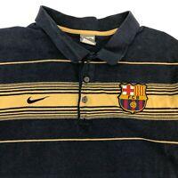 Nike Barcelona Polo Shirt Men's Size XL Short Sleeve Navy Yellow Striped Cotton