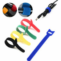 Purple Nylon Reusable Cable Organizer Ties 18cm Adjustable Strap Hook Loop Tidy