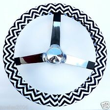 Handmade Steering Wheel Cover Black and White Superhero Chevron Zig Zag