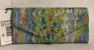 Brahmin Melbourne VERONICA Trifold Envelope Wallet WATER LILY Blue Green NWT