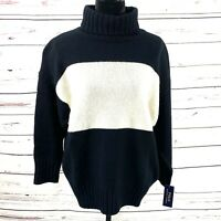 Polo Ralph Lauren Women's Turtleneck Sweater Marino Wool Black Color Block Sz L