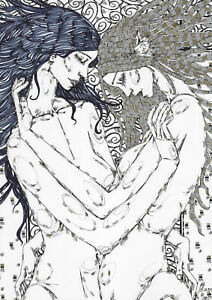original drawing A3 305RM art samovar ink modern female nude women love Signed