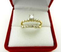 Bridal Set 14k Yellow Gold Diamond 0.50 tcw Engagement Wedding ring size 7