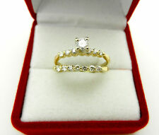 Bridal Set 14k Yellow Gold Diamond 0.50 tcw Engagement Wedding ring size 7