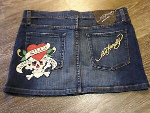 "Rare ED HARDY Jean Mini Patch ""LOVE KILLS SLOWLY"" Leather Accents Size 28 EUC"
