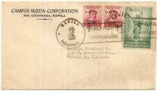1947 Philippines Independence 6c+2x2c cover Manila->Illinois USA