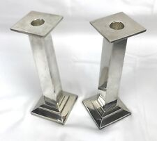"Pottery Barn Candle Stick Holders 2 Silver Platted Vintage 9"" tall"