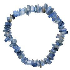 CHARGED Blue Kyanite Crystal Chip Stretchy Bracelet + Baby Selenite Puffy Heart
