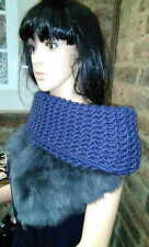 Large Blue Wrap Chunky Wool Knitted Snood with Blue Leather fur piece