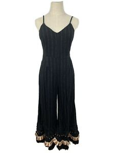 TIGERLILY Womens BOHO Hippie Gypsy Black Jumpsuit Playsuit Size 8 Party Cocktail
