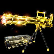 KIDS GOLD COLOR LASER LIGHT GATLING TOY GUN VIBRATION & STAND (M134),70CMS LONG