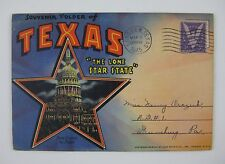 Texas Lone Star State Linen TX Postcard Souvenir Folder~PM Longview Texas 1945