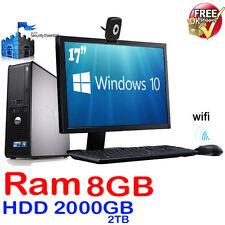 "FAST DELL COMPUTER DESKTOP TOWER 17"" SCREEN WINDOWS 10 WIFI 8GB RAM 2TB HDD WIFI"
