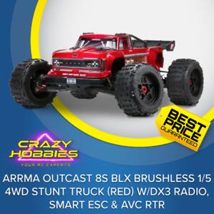 Arrma Outcast 8S BLX Brushless 1/5 4WD Stunt Truck (Red) w/DX3 Radio, Smart ESC