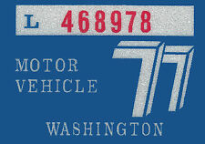 1977 WASHINGTON Vinyl Sticker Decal -CAR or TRUCK License Plate Reg. TAB TAG-New