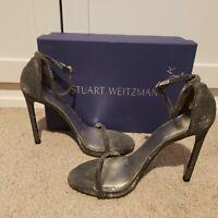 Stuart Weitzman Nudist Zinc Mini Glitter Ankle Strap Heels Size 9