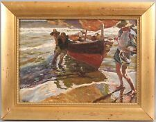 1902 Antique Signed Impressionist Fishermen & Fishing Boat Maritime Oil Painting