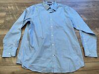 BANANA REPUBLIC Standard Fit Blue Striped Button Front Casual Shirt Top mens XL