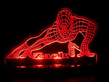 Personalized Spiderman Super Hero LED Lamp Night Light Custom Name  Kids Rooms