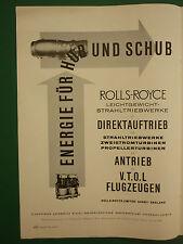 10/1961 PUB ROLLS-ROYCE ENGINES TRIEBWERK VTOL FLUGZEUGEN ORIGINAL GERMAN AD
