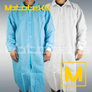 10 Pack M/L/XL/XXL Medical Dental Disposable Lab Coat Jacket Blue/White Cuff