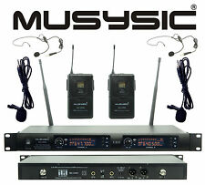 Professional 2x100 Channel UHF Wireless Lavalier/Lapel Microphone System MU-UR96