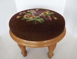 Vintage Needlepoint Footstool Handcrafted Genuine Amana Furniture Solid Wood
