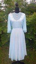 Vintage Dress - 1970s Retro Pleat Baby Blue Pastel Boho Applique Chiffon - 14/L