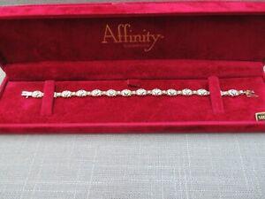 "Affinity 14k Solid Yellow White Gold Diamond Bracelet 7 1/8"" - 6.64 Grams"