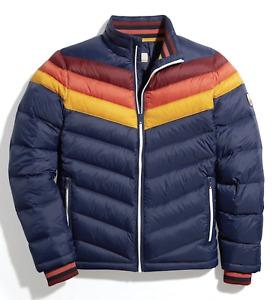 Marine Layer Navy Sunset Stripe Zurich Puffer Coat Jacket Size M Medium NWT