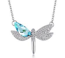 Fashion Womens Dragonfly Blue Crystal Rhinestone Silver Chain Pendant Necklace