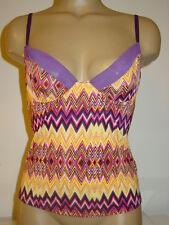 Fredericks of Hollywood purple yellow pink chevron zig zag cami underwires-M-NEW