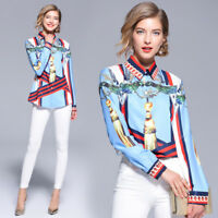 2019 Spring Summer Fall Baroque Print Button Front Long Sleeve Top Shirt Blouse