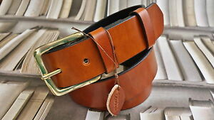 HANDMADE SOLID MENS REAL LEATHER TROUSERS BELT 38mm WIDE ALL SIZES made in UK