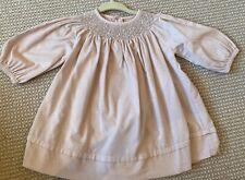 Jacadi Paris Baby Girl Pink Cotton Corduroy Dress 6m 6 Months Smocking $85