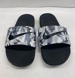 Nike Kids Camo Print Slides Slip On Black Gray  Sandals Beach Pool Size US 7Y