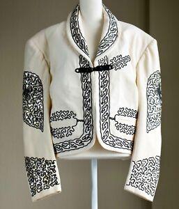 VTG 70s Jacket Rockabilly Latin Sequins Wedding Mariachi Charro Suit White M L