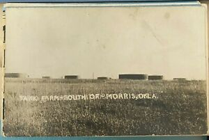 MORRIS OKLAHOMA OIL TANK FARM OLD REAL PHOTO POSTCARD