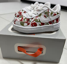 Infant Girl's Nike Force 1 Crib Shoes Cherry Red Pear CT2322 100 Baby Size 2c