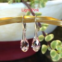 925 Sterling Silver 13mm Authentic Swarovski Element Crystal Leverback Earrings