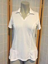 Adidas White Athletic Golf Shirt Ruffle Short sleeve Top Womens Size XS
