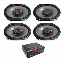 Two Pair of Alphasonik 6x8 3-Way 1400W Full Range Speakers 4 Ohm Pro Car Audio