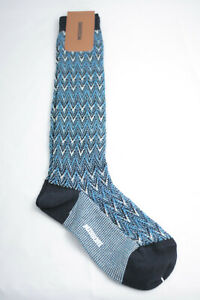Missoni ~ LONG SOCKS ~ iconic knitted zig zag BNWT blue Small