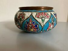 Antique islamic Persian Syrian enamel copper bowl middle eastern