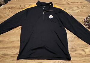 NEW PITTSBURGH STEELERS NFL Sweatshirt Pullover Black/Gold Sz L Antigua Jacket