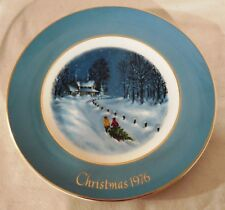 "Vintage 1976 Avon Christmas Plate ""Bringing Home The Tree"" Wedgwood, In Box"